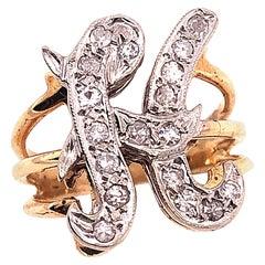 14 Karat Two-Tone Yellow and White Gold Diamond Initial H Ring