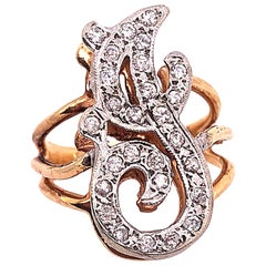 14 Karat Two-Tone Yellow and White Gold Diamond Initial J Ring