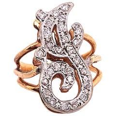 14 Karat Two-Tone Yellow and White Gold Diamond Initial J Ring