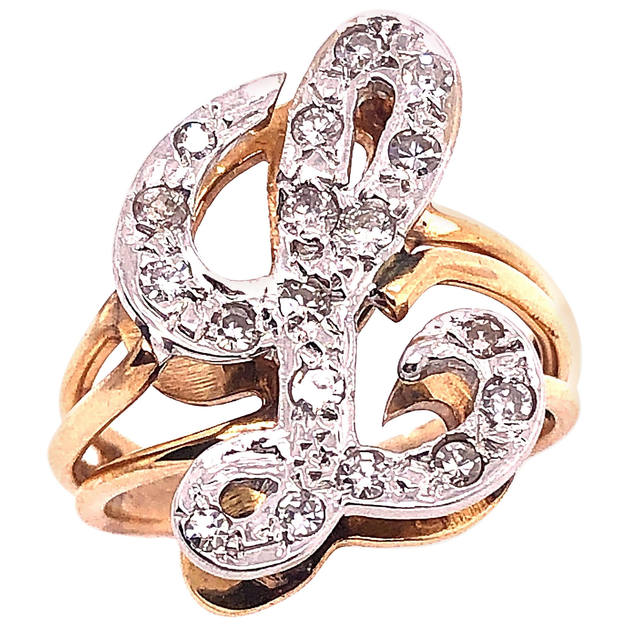 14 Karat Two-Tone Yellow and White Gold Diamond Initial L Ring