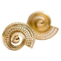 14 Karat Unique Statement Earrings Spiral Earrings Contemporary Fine Jewelry