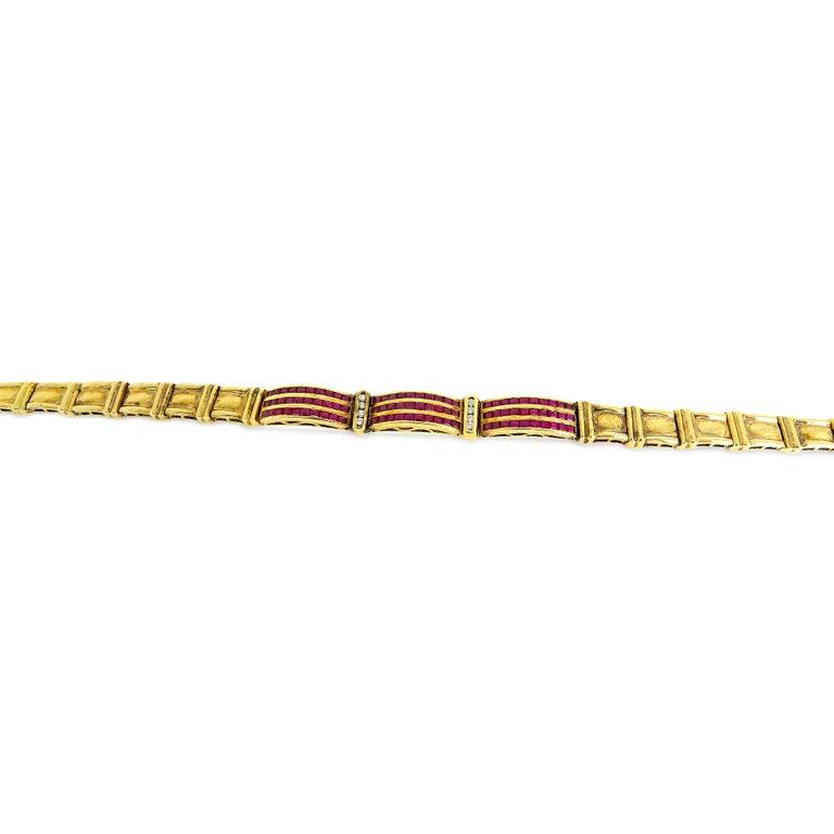 Art Deco 14 Karat Vintage Diamond and Ruby Ladies Bracelet For Sale