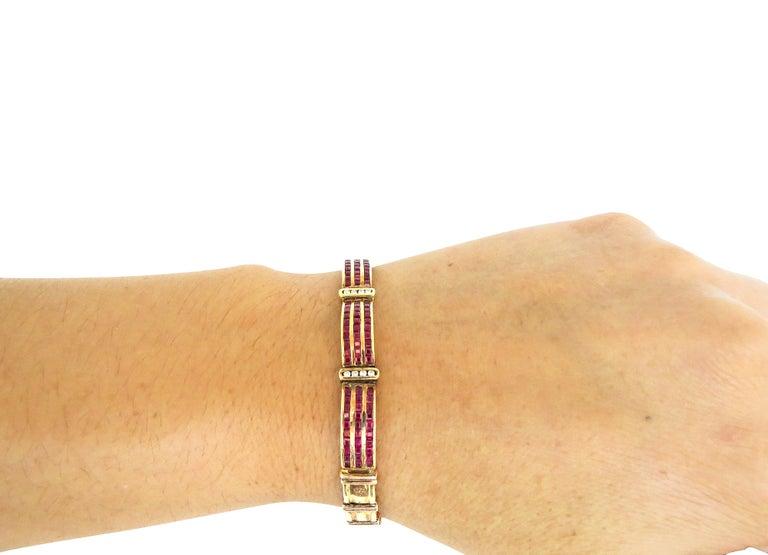 Women's 14 Karat Vintage Diamond and Ruby Ladies Bracelet For Sale