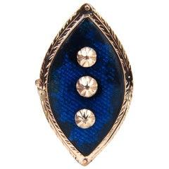 14 Karat Vintage Restored Bohemian Ring Holographic Enamel
