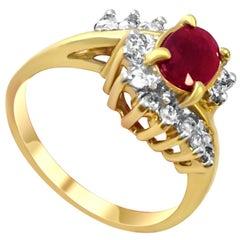 14 Karat Vintage Ruby and Diamond Ring