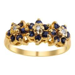14 Karat Vintage Sapphire and Diamond Ladies Ring