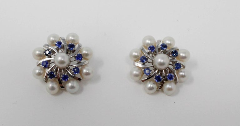 Women's 14 Karat White Gold Earrings with Pearls and Sapphires For Sale