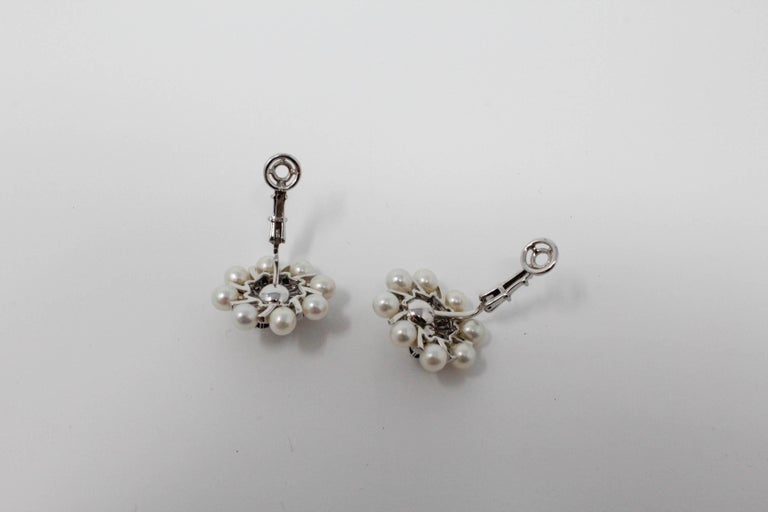 14 Karat White Gold Earrings with Pearls and Sapphires For Sale 1