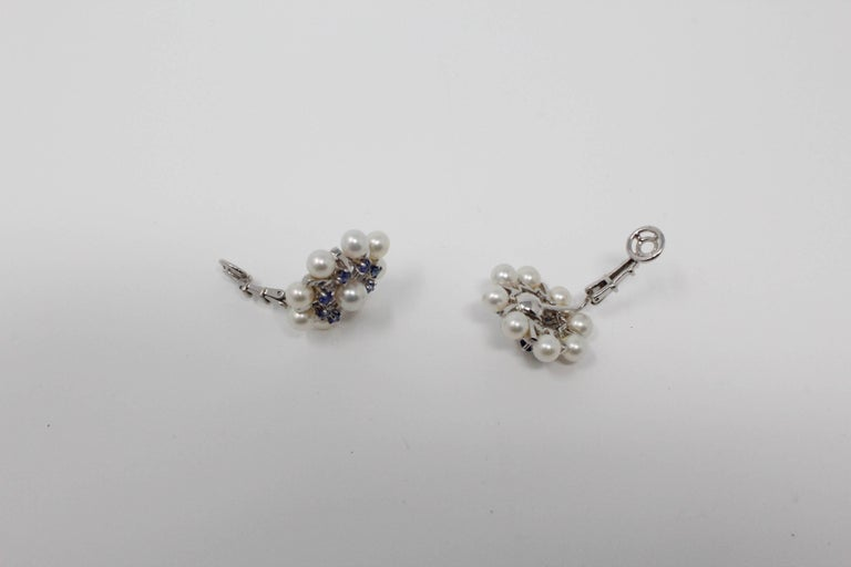 14 Karat White Gold Earrings with Pearls and Sapphires For Sale 2