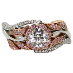 14 Karat White and Rose Gold 1.00 Carat GIA Diamond Ring with Pink Diamonds