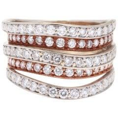14 Karat White and Rose Gold Diamond Band Ring