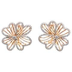 14 Karat White and Rose Gold Diamond Flower Earrings