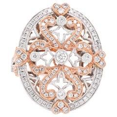 14 Karat White and Rose Gold Intricate Diamond Ring