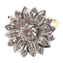 14 Karat White and Yellow Gold 1.15 Carat H-K/ VS2-SI2 1950s Diamond Ring