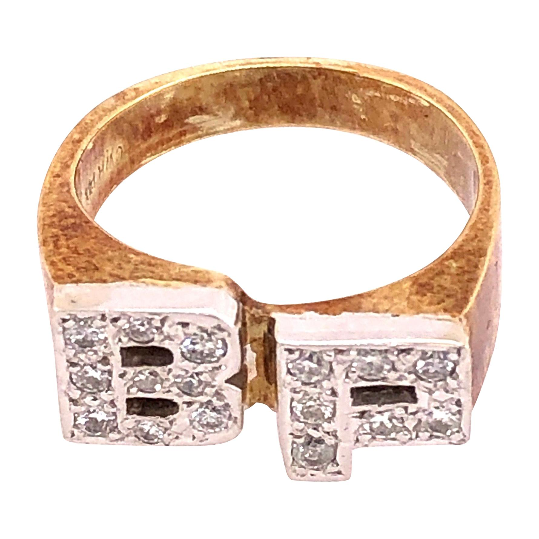 14 Karat White and Yellow Gold and Diamond BP Initial Ring
