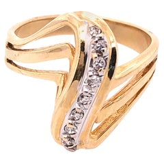 14 Karat White and Yellow Gold and Diamond Freeform Contemporary Ring