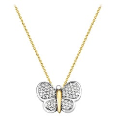 14 Karat White and Yellow Gold Diamond Butterfly Pendant Necklace