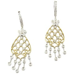 14 Karat White and Yellow Gold Diamond Chandelier Earrings