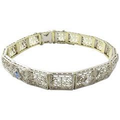 14 Karat White and Yellow Gold Filigree Diamond and Sapphire Bracelet