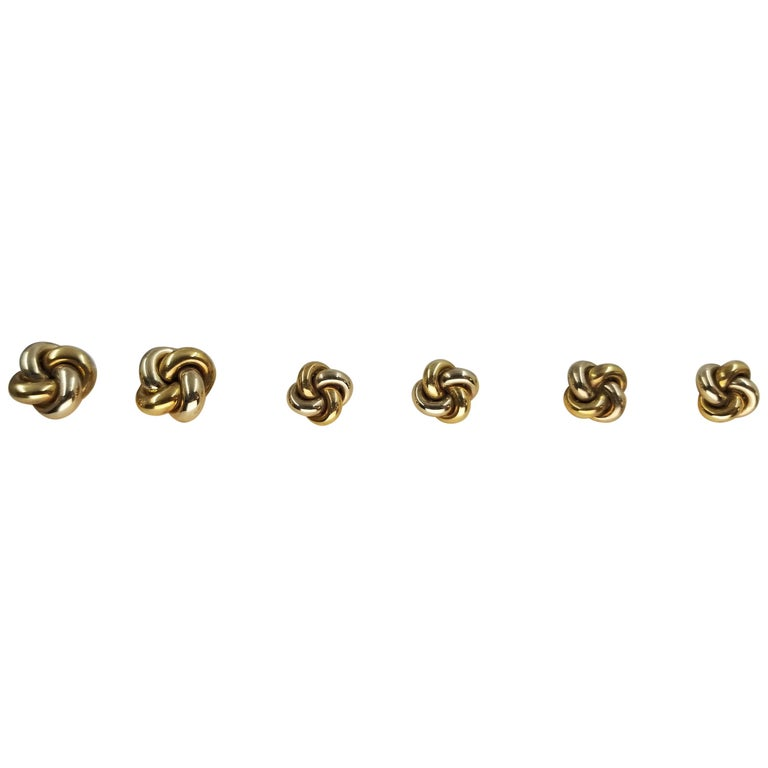 14 Karat White and Yellow Gold Knot Cufflinks and Tuxedo Studs For Sale