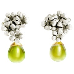 14 Karat White and Yellow Gold Plum Flowers Earrings by The Artist with Diamonds