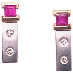 14 Karat White and Yellow Gold Screw Back Ruby Earrings with Diamonds