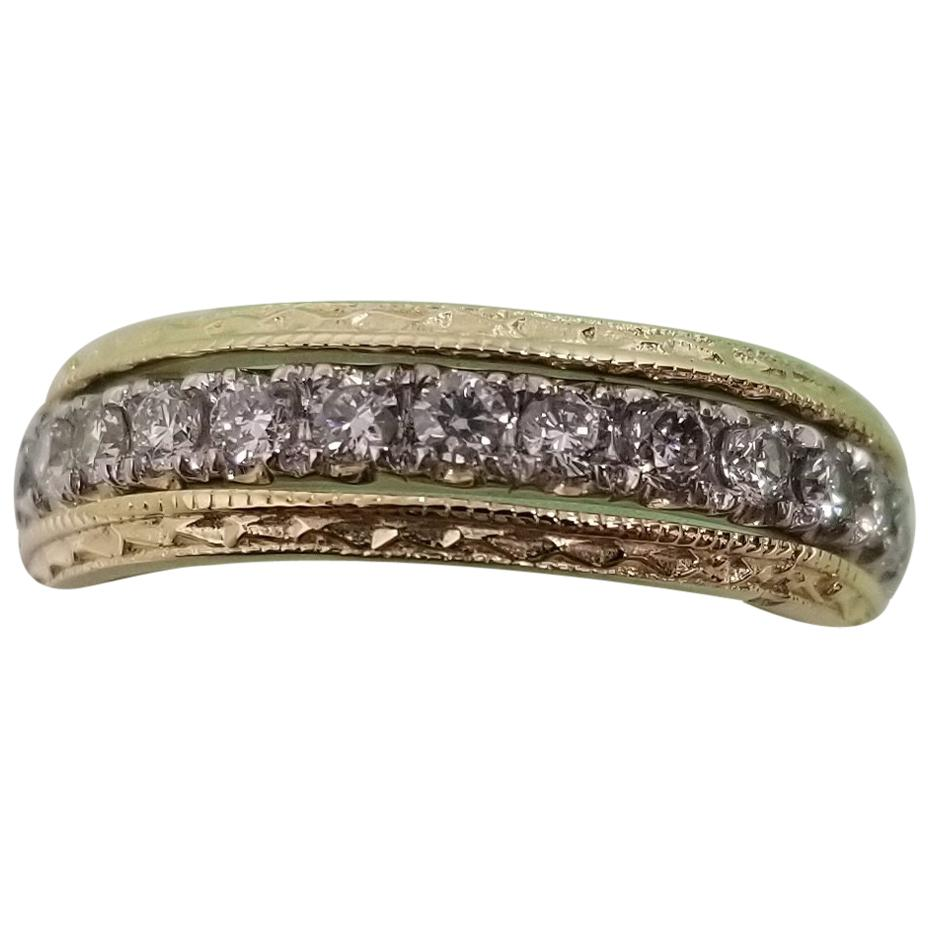 14 Karat White and Yellow Hand Engraved Diamond Rings