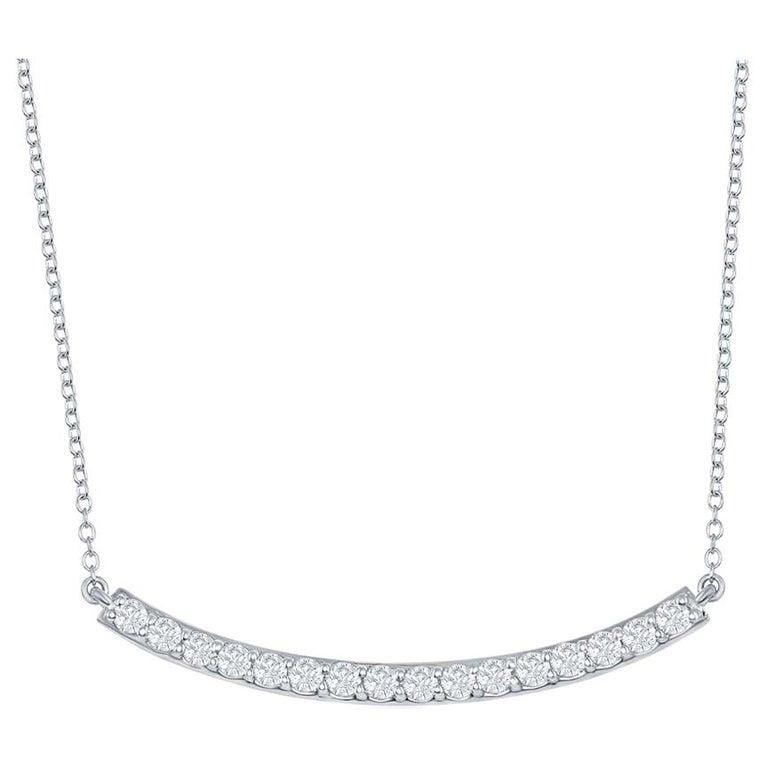 14 Karat White Bar Diamond Pendant 7 Pointers For Sale