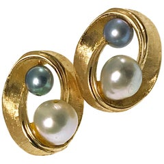 14 Karat White Blue-Gray Pearl Swirl Earrings