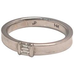 14 Karat White Diamond Concave Band Ring
