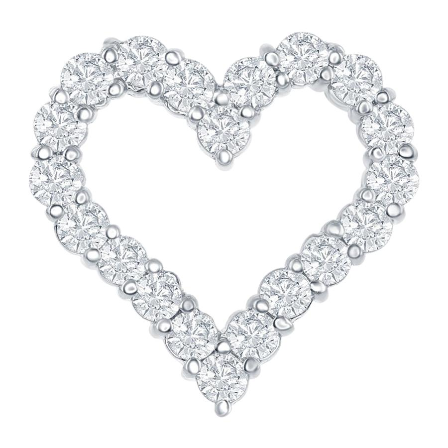14 Karat White Diamond Heart Pendant 1.50 Carat