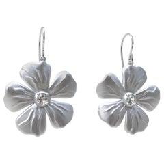 14 Karat White GIA Diamond Periwinkle Flower Earrings
