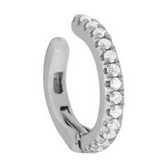 14 Karat White Gold 0.04 Carat Round Diamond Cuff Earring