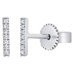 14 Karat White Gold 0.07 Carat Diamond Bar Earrings