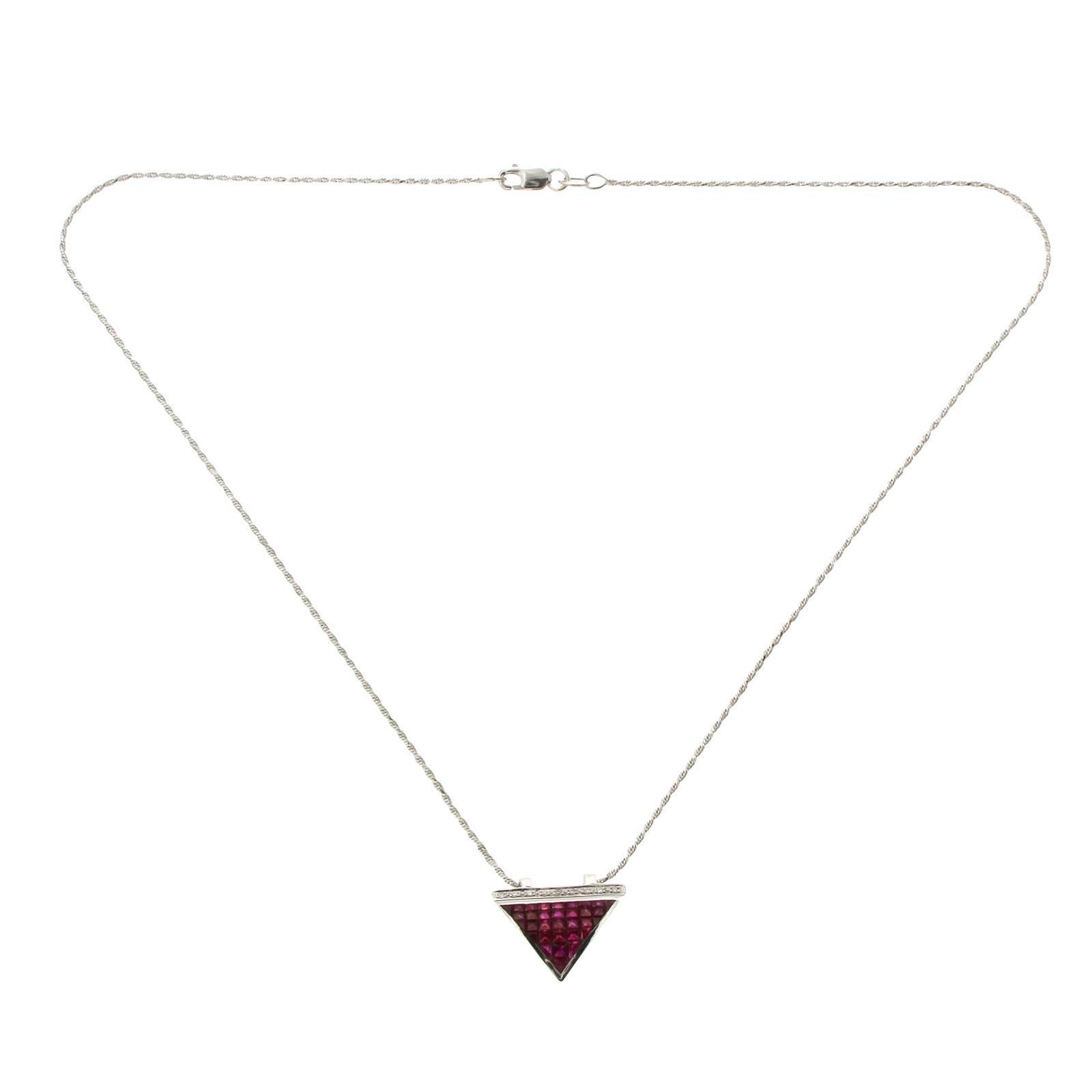 14 Karat White Gold 0.09 Carat Diamonds 2.90 Carat Invisible Set Ruby Necklace