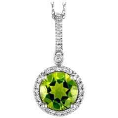 14 Karat White Gold 0.11 Carat Diamond and Peridot Round Pendant Necklace