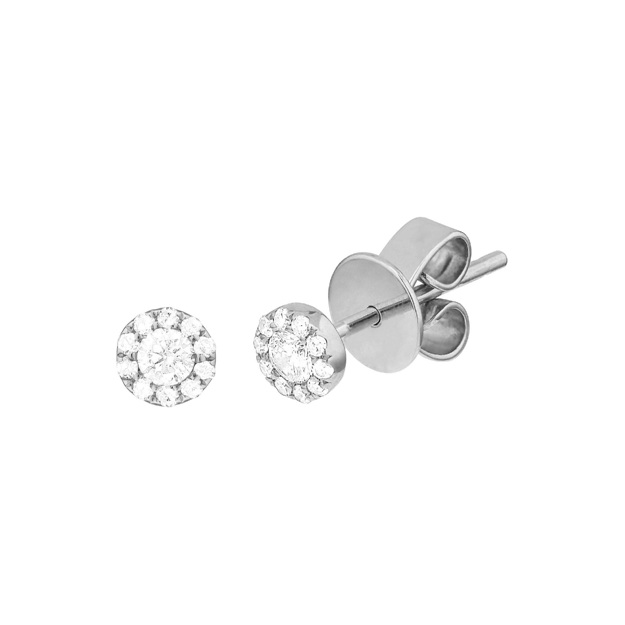 14 Karat White Gold 0.115 Carat Diamond Cluster Earrings