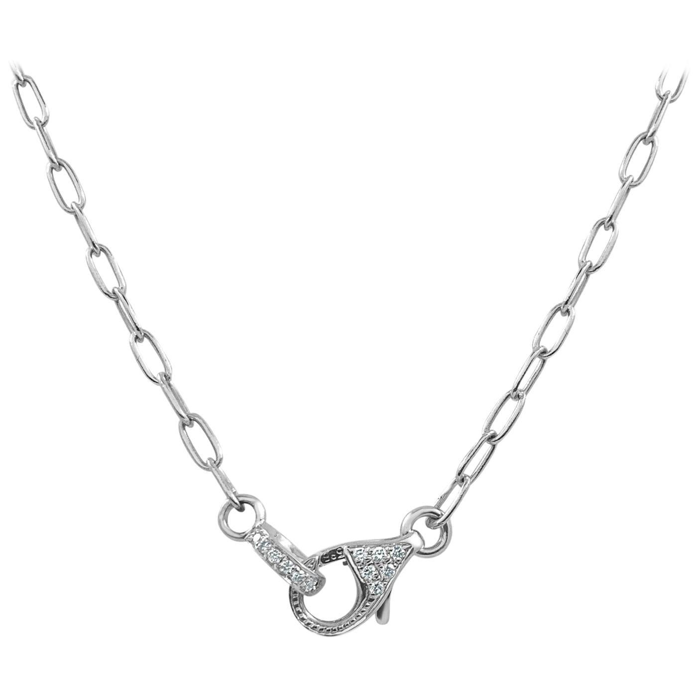 14 Karat White Gold 0.13 Carat Diamond Lobster Claw Link Chain Necklace