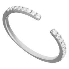 14 Karat White Gold 0.155 Carat Round Diamond Open Band Ring