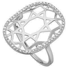 14 Karat White Gold 0.16 Carat Round Diamond 1920s Inspired Plaque Ring