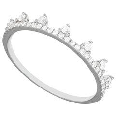 14 Karat White Gold 0.19 Carat Round Diamond Dotted Tiara Style Band Ring