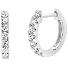 14 Karat White Gold 0.20 Carat Diamond Huggie Earrings