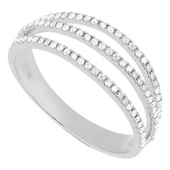 14 Karat White Gold 0.23 Carat Round Diamond Triple Line Band Ring