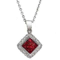 14 Karat White Gold 0.26 Carat Diamonds 1.00 Carat Invisible Set Ruby Necklace