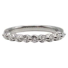 14 Karat White Gold 0.33 Carat Round Diamond Wedding Band Stackable Ring