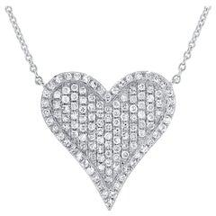 14 Karat White Gold 0.34 Carat Diamond Pave Heart Necklace