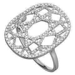 14 Karat White Gold 0.38 Carat Round Diamond 1920s Inspired Plaque Ring