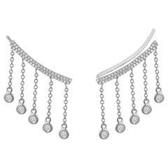 14 Karat White Gold 0.38 Carat Round Diamond Drop Climbing Earrings