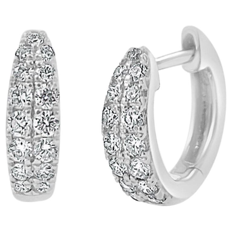 14 Karat White Gold 0.39 Carat Diamond Double Row Huggie Earrings