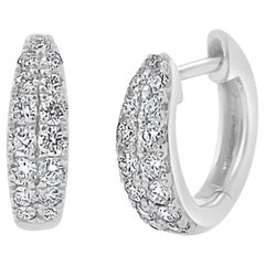 14 Karat White Gold 0.39 Carat Diamond Double Row Huggie Earrings